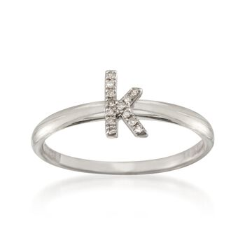 "Diamond Accent Mini Initial ""K"" Ring in Sterling Silver, , default"
