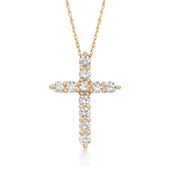 .55 ct. t.w. CZ Cross Pendant Necklace in 14kt Yellow Gold