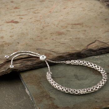 Italian Sterling Silver Mesh Bolo Bracelet, , default