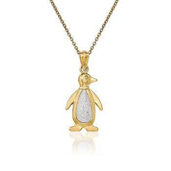 """14kt Two-Tone Gold Penguin Pendant Necklace. 18"""", , default"""