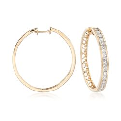 2.00 ct. t.w. Channel-Set Diamond Hoop Earrings in 14kt Yellow Gold, , default