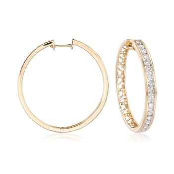 "2.00 ct. t.w. Channel-Set Diamond Hoop Earrings in 14kt Yellow Gold. 1 1/4"", , default"