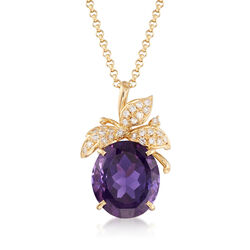 C. 1980 Vintage 18.85 ct. t.w. Amethyst and .70 ct. t.w. Diamond Leaf Pendant Necklace in 18kt Yellow Gold, , default