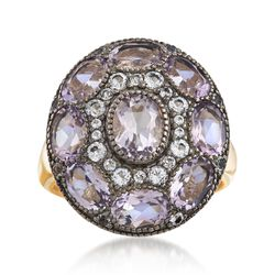 4.30 ct. t.w. Pink Amethyst and .49 ct. t.w. White Topaz Ring in 18kt Gold Over Sterling, , default
