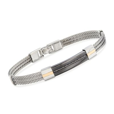 ALOR Men's Black and Gray Stainless Steel Cable Bar Bracelet with 18kt Yellow Gold, , default