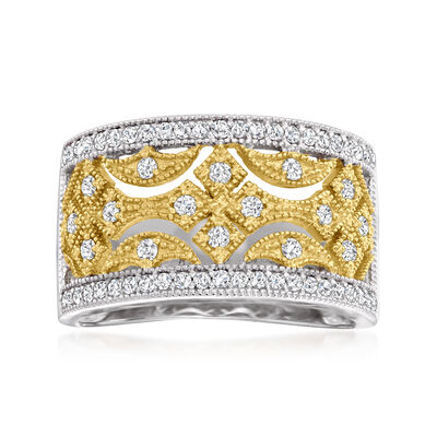 .50 ct. t.w. Diamond Openwork Ring in Sterling Silver and 18kt Gold Over Sterling