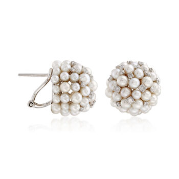 Cultured Pearl and .69 ct. t.w. Diamond Cluster Earrings in 18kt White Gold, , default