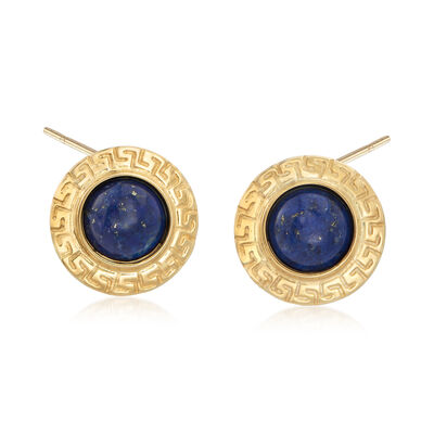 Italian 10mm Lapis Greek Key Earrings in 18kt Gold Over Sterling, , default