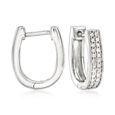 .25 ct. t.w. Diamond Oval Hoop Earrings in Sterling Silver