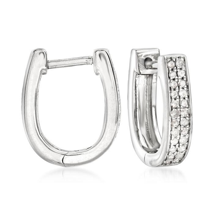 """.25 ct. t.w. Diamond Oval Hoop Earrings in Sterling Silver. 1/2"""""""
