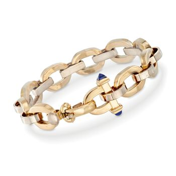 "18kt Yellow Gold Structured Link Bracelet With Lapis Accents. 8.5"", , default"