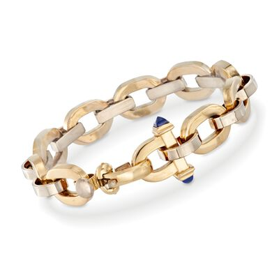 18kt Yellow Gold Structured Link Bracelet with Lapis Accents, , default