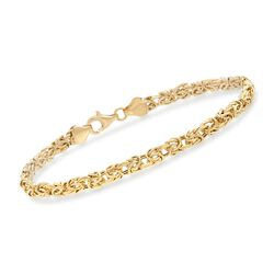 4mm 18kt Yellow Gold Byzantine Bracelet, , default