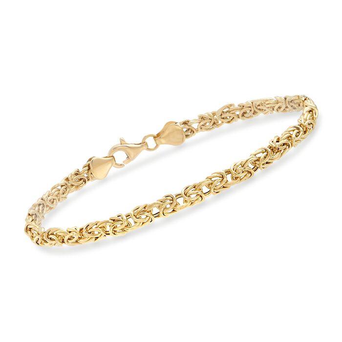 4mm 18kt Yellow Gold Byzantine Bracelet, , default