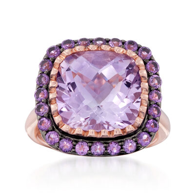 7.05 ct. t.w. Amethyst Ring in 14kt Rose Gold Over Sterling, , default