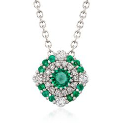 "Gregg Ruth .40 ct. t.w. Emerald and .23 ct. t.w. Diamond Necklace in 18kt White Gold. 18"", , default"
