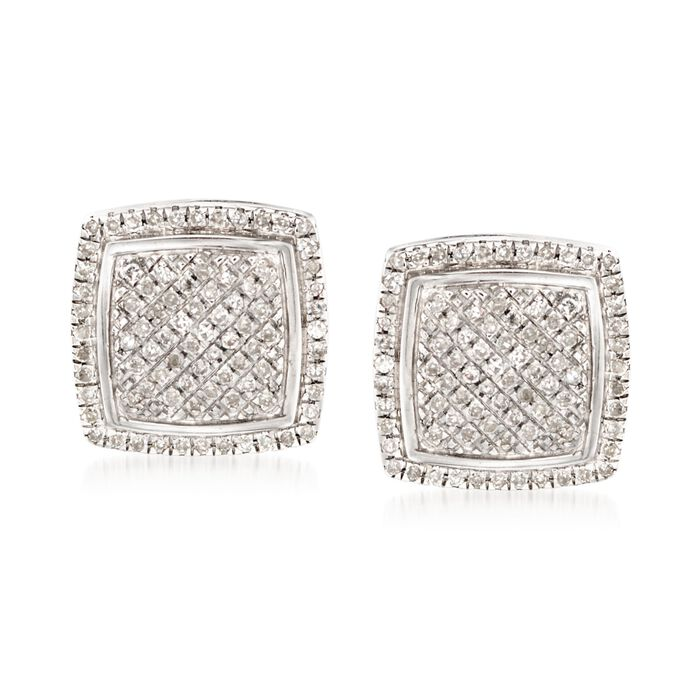 .23 ct. t.w. Pave Diamond Square Earrings in Sterling Silver, , default