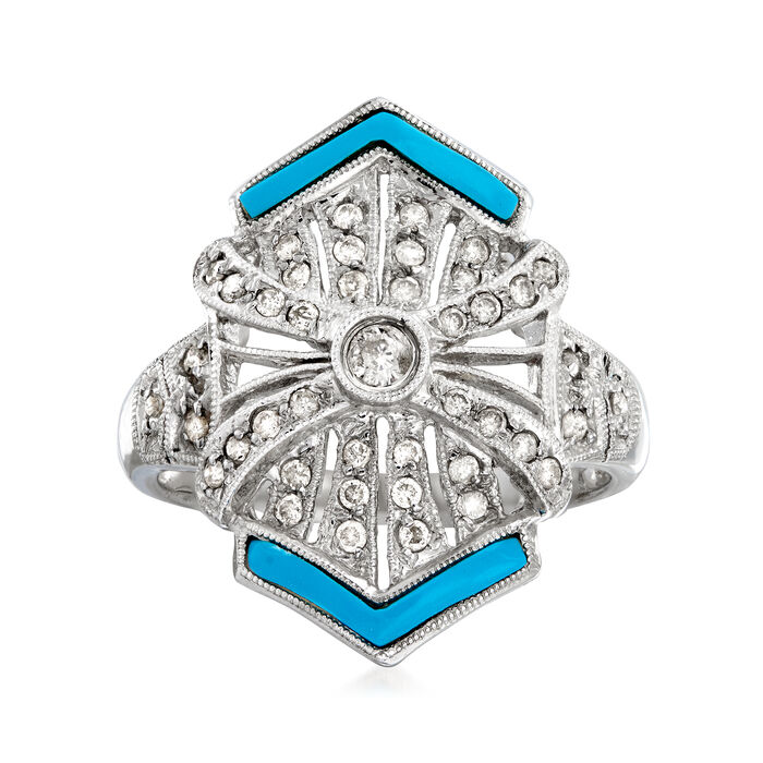 C. 1990 Vintage .40 ct. t.w. Diamond Ring with Blue Resin in 14kt White Gold. Size 7.25, , default