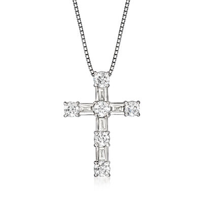C. 1990 Vintage 1.05 ct. t.w. Diamond Cross Pendant Necklace in Platinum