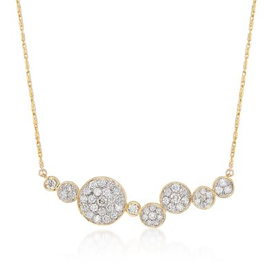 1.00 ct. t.w. Pave Diamond Multi-Circle Necklace in 14kt Yellow Gold, , default