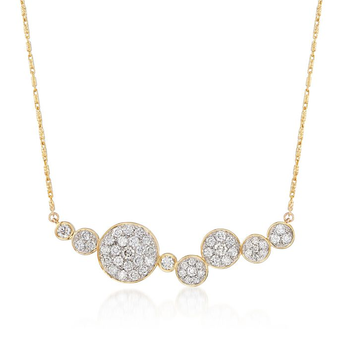"""1.00 ct. t.w. Pave Diamond Multi-Circle Necklace in 14kt Yellow Gold. 18"""", , default"""