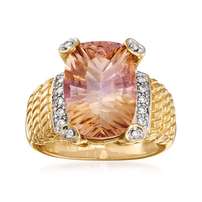 C. 1980 Vintage 6.00 Carat Ametrine and .15 ct. t.w. Diamond Ring in 14kt Yellow Gold