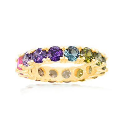 3.70 ct. t.w. Multicolored CZ Eternity Band in 18kt Gold Over Sterling, , default