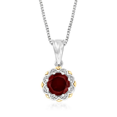 2.10 Carat Garnet Pendant Necklace with Diamond Accents in Sterling Silver and 14kt Yellow Gold