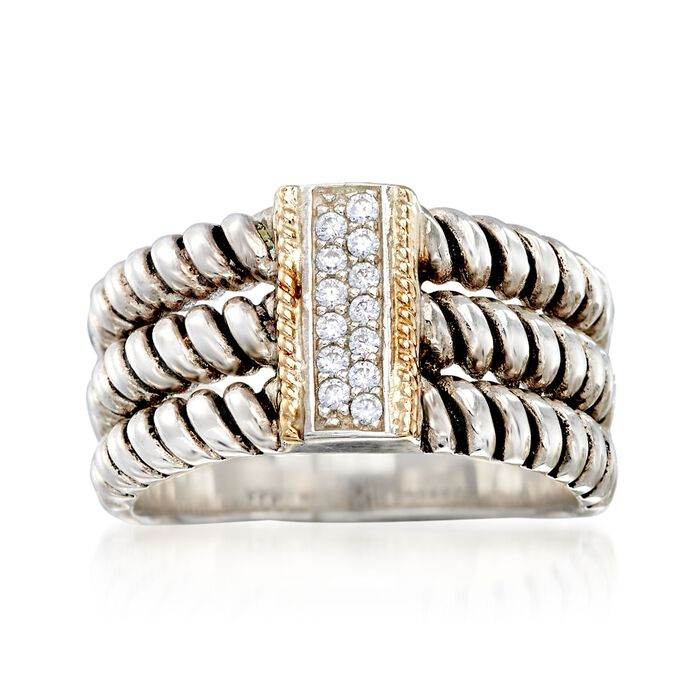 .10 ct. t.w. CZ Three-Row Ring in Sterling Silver and 14kt Yellow Gold , , default