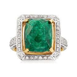 4.70 Carat Emerald and .40 ct. t.w. White Topaz Ring in 14kt Gold Over Sterling, , default
