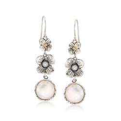 12mm Cultured Coin Pearl Floral Drop Earrings With White Topaz in Sterling and 14kt Gold , , default