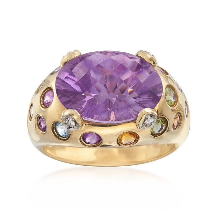 C. 2000 Vintage 5.50 Carat Amethyst and .52 ct. t.w. Multi-Gemstone Ring with Diamond Accents in 10kt Yellow Gold. Size 7, , default