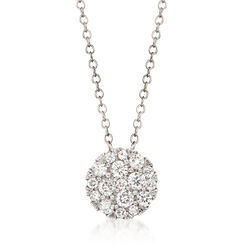 .50 ct. t.w. Diamond Cluster Pendant Necklace in 14kt White Gold, , default