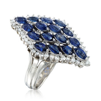 C. 1980 Vintage 3.53 ct. t.w. Sapphire and .90 ct. t.w. Diamond Cluster Ring in Platinum. Size 7.5, , default