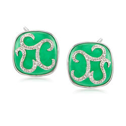13mm Green Jade and Diamond-Accented Square Earrings in 14kt White Gold, , default