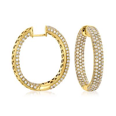 6.09 ct. t.w. Diamond Inside-Outside Hoop Earrings in 18kt Yellow Gold