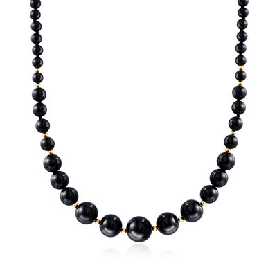 Black Agate Bead Necklace in 14kt Yellow Gold, , default