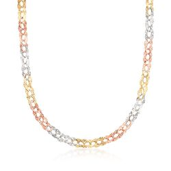 14kt Tri-Colored Gold Diamond-Cut Oval-Link Necklace, , default