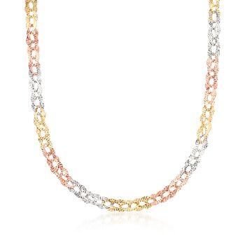 "14kt Tri-Colored Gold Diamond-Cut Oval-Link Necklace. 18"", , default"