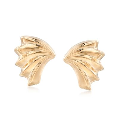 14kt Yellow Gold Scalloped Wing Earrings, , default