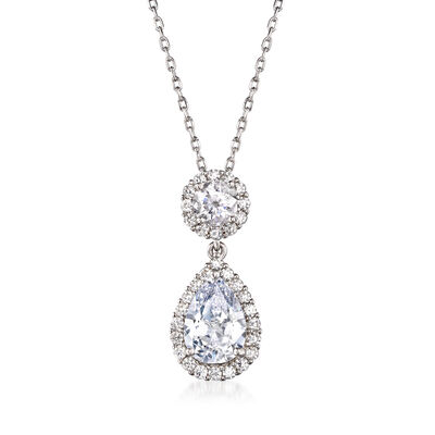 2.95 ct. t.w. Pear-Shaped CZ Pendant Necklace in Sterling Silver, , default