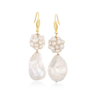 Cultured Pearl Cluster Drop Earrings in 18kt Gold Over Sterling, , default