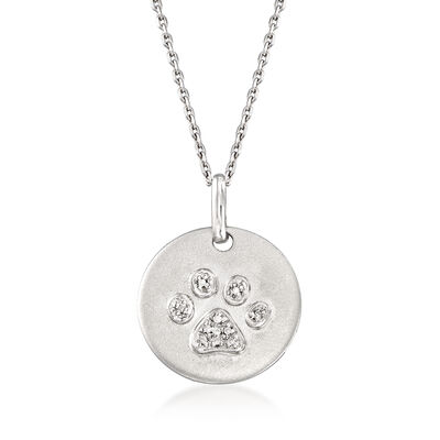 Paw-Print Necklace with Diamond Accents in Sterling Silver, , default