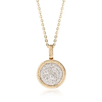 """.30 ct. t.w. Pave Diamond Circle Pendant Necklace in 14kt Yellow Gold. 16"""", , default"""