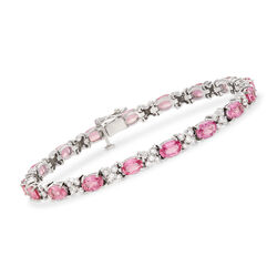 10.00 ct. t.w. Pink Sapphire and 2.25 ct. t.w. Diamond Bracelet in 14kt White Gold, , default