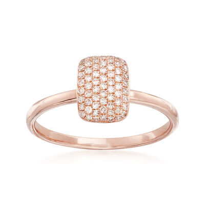 .21 ct. t.w. Pave Diamond Square Ring in 14kt Rose Gold, , default