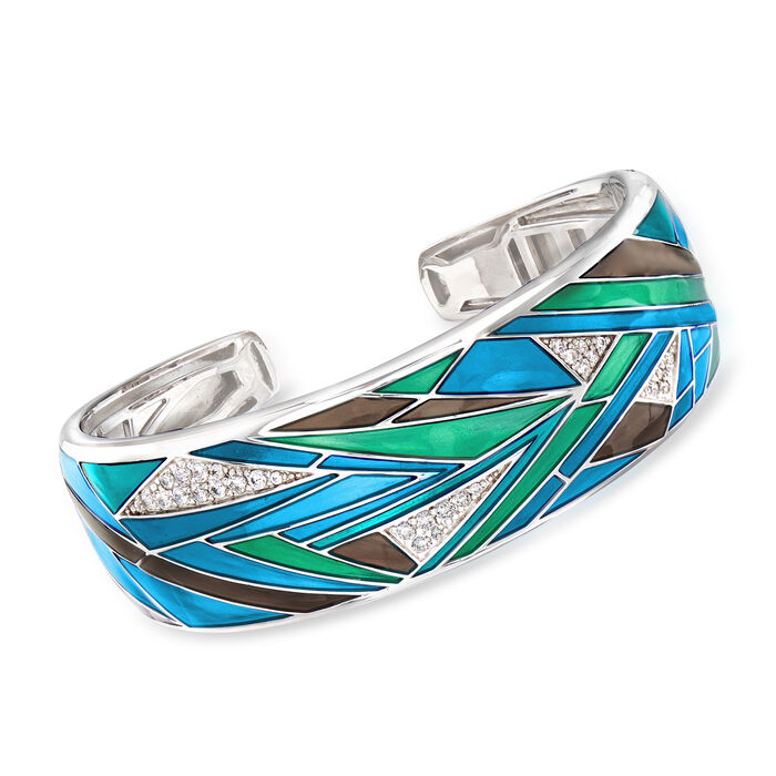 "Belle Etoile ""Chromatica"" Multicolored Enamel and .91 ct. t.w. CZ Cuff Bracelet in Sterling Silver. 7.5"", , default"