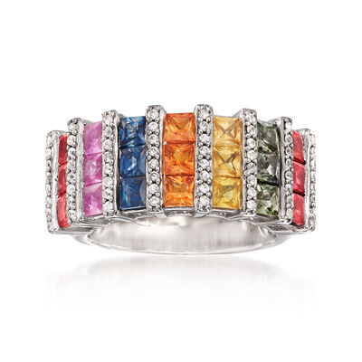 3.70 ct. t.w. Multicolored Sapphire and .54 ct. t.w. White Zircon Ring in Sterling Silver, , default