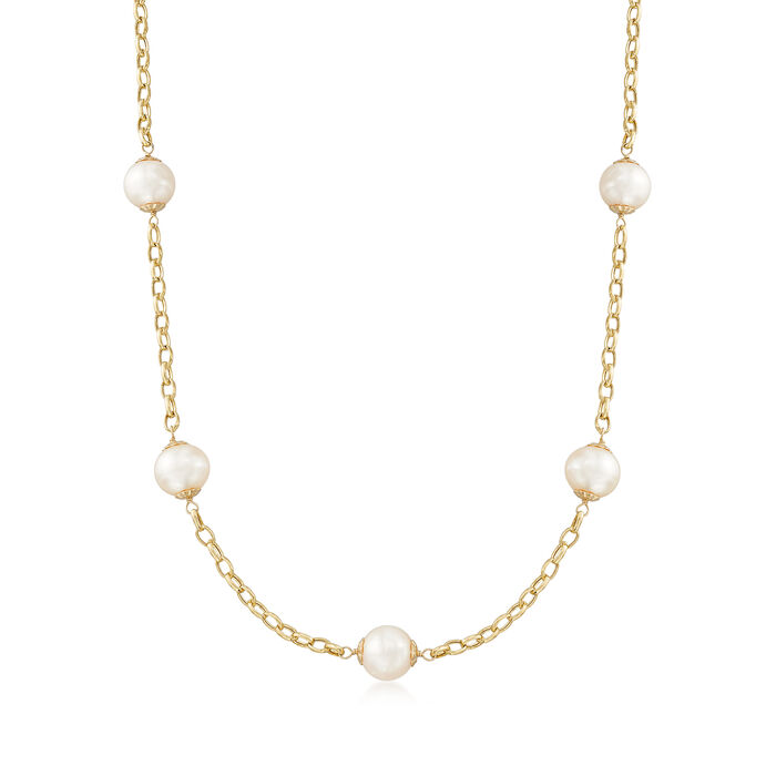 "9.5-10mm Cultured Pearl Station Necklace in 14kt Yellow Gold. 20"", , default"