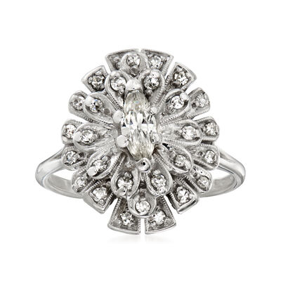C. 1950 Vintage .63 ct. t.w. Diamond Cocktail Ring in 14kt White Gold, , default